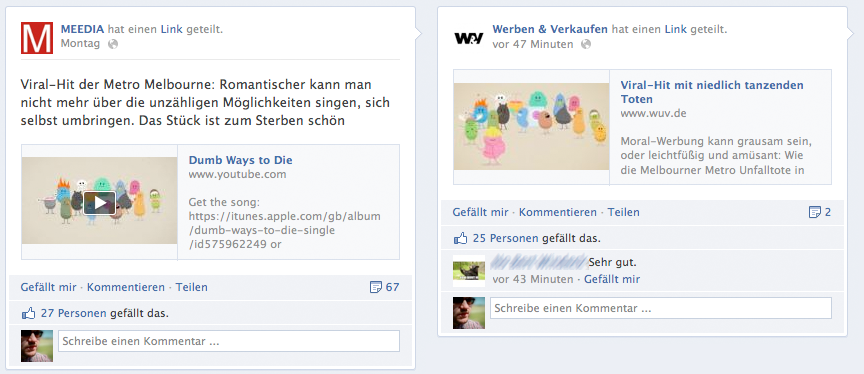 Montierte Screenshots (Facebook)